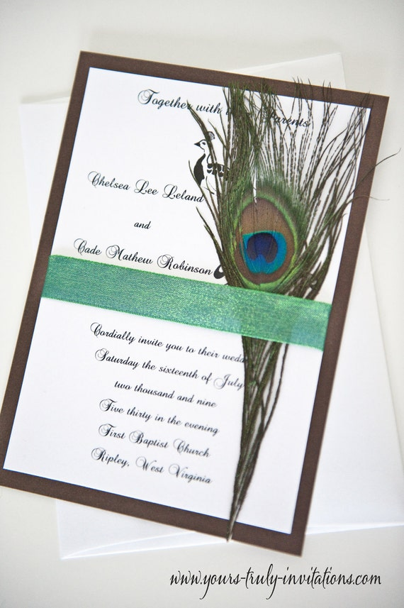 Peacock Feather Wedding invitation customized for you in your colors shown in shimmer brown and turquoise with a natural feather