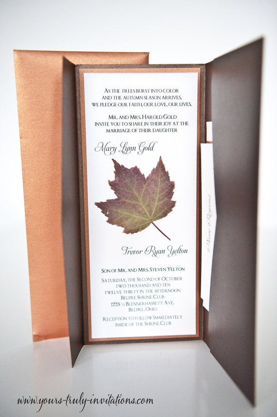 Sample - Tea Length Copper and Bronze Brown Shimmer Autumn Wedding invitation suite with real dried maple leaf and pocket folder