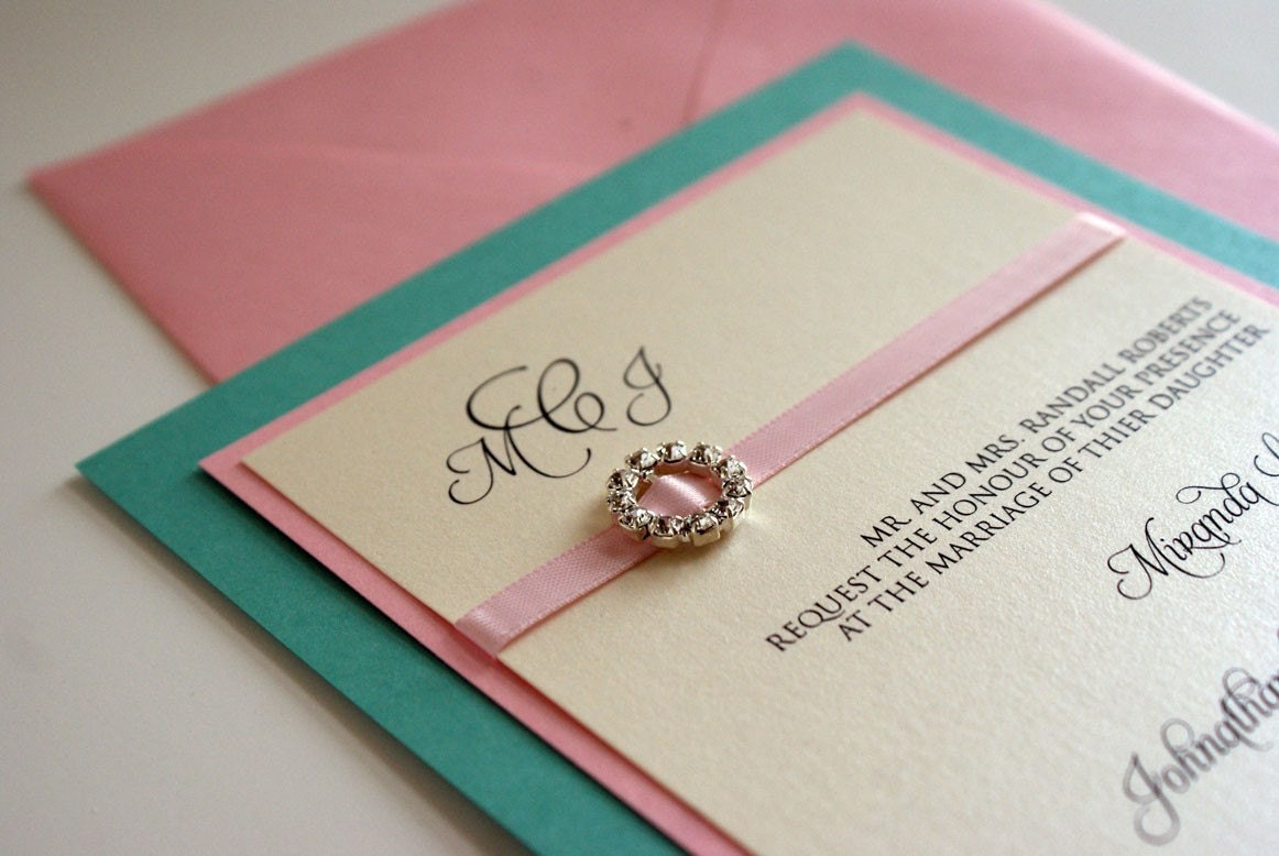 Tiffany Blue And Red Wedding Invitations: Items Similar To Tiffany Blue And Rose Pink Customizeable