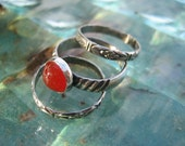 INVENTORY REDUCTION SALE  - Set of Three Handmade Stack Rings with Carnelian