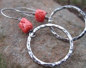 Handmade Sterling Silver Hoop Earrings with recycled coral and Hammered Hoops