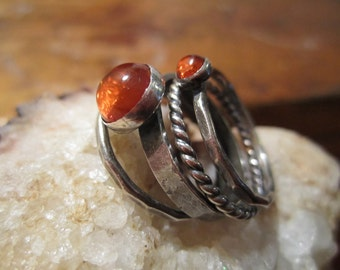 INVENTORY REDUCTION SALE  - Set of 4 Sterling Silver Stack Rings with Baltic Amber