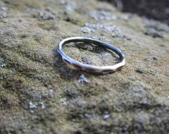 Single Hammered Stackable Sterling Silver Stack Ring