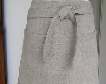 Half Apron Woman European Linen Natural Color Rustic Look Work Catering