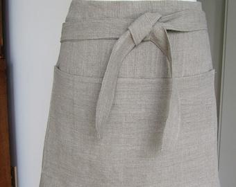Half Linen Apron  woman man  Natural color  European linen rustic linen custom apron