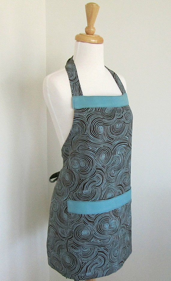 Chef Apron Woman Harmony Art Organic Cotton Twill Brown Aqua