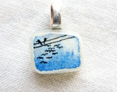 Squared Pendant Charm of Love Birds on Telephone Wires and Flying (deep blue sky, sterling silver) P159