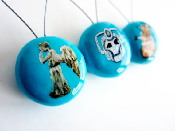 Snag Free - Doctor Who Villians Stitch Markers - Set of 3 Hand-Painted (weeping angel, cyberman, dalek)