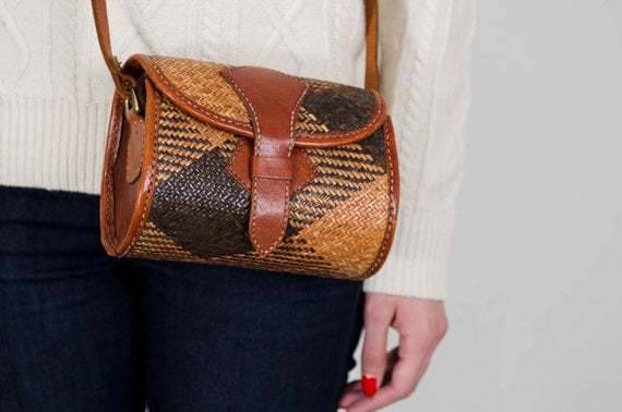 vintage brown woven leather fisherman cross body buckle bag tatami