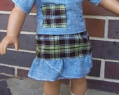 2 pc. Blue and plaid doll outfit for American Girl 18 inch dolls FREE SHIPPING
