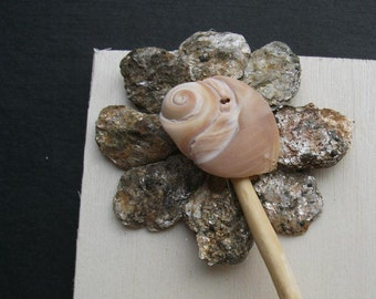 Flower - Collage of mica stone, driftwood, seaweed, shell on pine