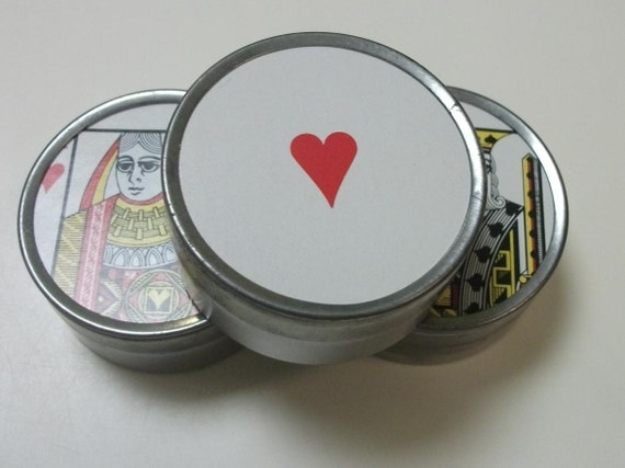 Tins with original vintage playing card images from the early 1970's