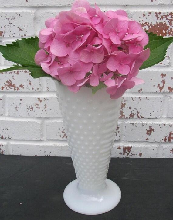 Milk Glass beautiful vase HOBNAIL anchor hocking