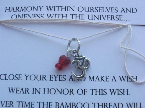 Wish Necklaces / Bracelets - OM / Color Theory - Red - poise and courage