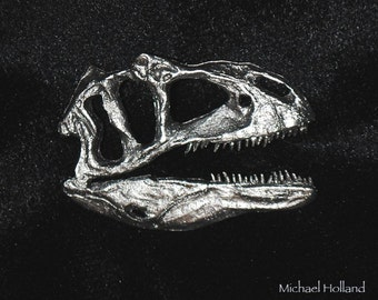 pewter dinosaur pin - Allosaurus