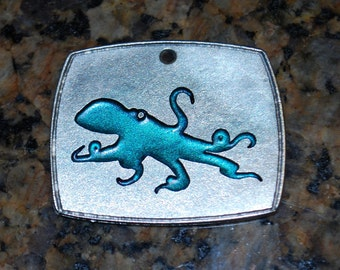 Pewter Octopus Pendant Necklace - Teal