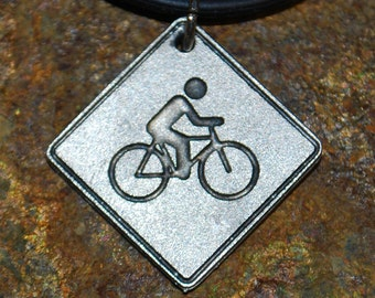 Pewter Bicycle Necklace - Road Sign Series