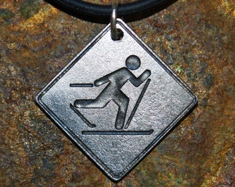Pewter XC Skier Necklace - Road Sign Series