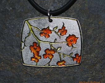 Pewter Dogwood Flower Necklace Pendant