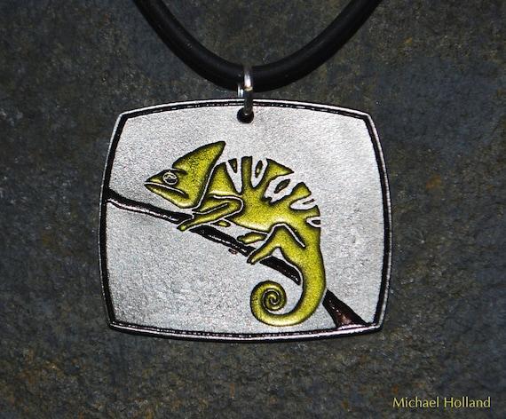 Pewter Chameleon Pendant Necklace
