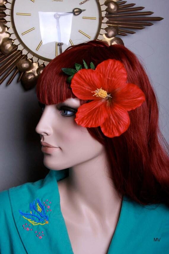 Red Hawaiian Hibiscus Pinup Flower Hair Clip