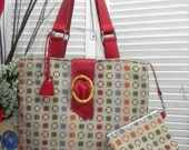 Tote Bag with Red Leather straps and flap and a wallet