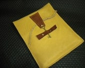 Genuine Raw Leather Ipad Case in Butterscotch color with A Key To My Heart