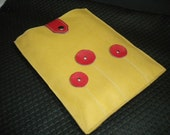 Genuine Leather Ipad Case in Butterscotch color with Red Flowers