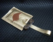 Genuine Leather Iphone Ipod Camera  Gadget Case Wristlet in Gold
