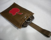 Genuine Leather Iphone Ipod Camera  Gadget Case Wristlet in Mocha Brown