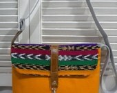 Maycas Daily Messenger Bag in Burnt Orange & Tribal Fabric