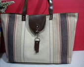 Large Everyday Carry All Hand Bag / Shoulder Bag / Tote Bag in French Canvas with Leather Handle /  Messenger Bag / 2 way bag