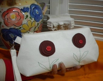 Faux Leather Wristlet Clutch Cosmetic Bag Holiday Give Aways