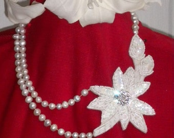MAYCAS BRIDAL Necklace REAL Fresh Water Pearls and Lace