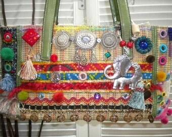 Upcycled Maycas Jewelled BOHO Gypsy Bohemian Ethnic Hand/Shoulder Bag  - Free shipping to USA