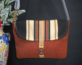 Maycas Daily Messenger Bag in Rust Brown and Stripes