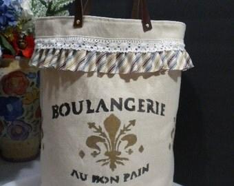 French Country Design X-Large Fabric Organizer-Leather Handle / Hamper / Basket / Storage Container / Basket Bin /Round Bottom /