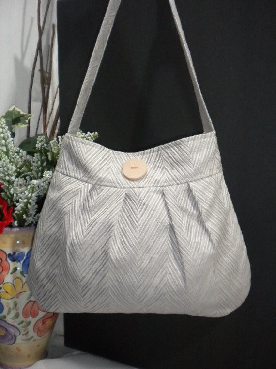 Missy's Everyday Bag / Pleated Hobo Bag / Everyday Shoulder Bag in Oatmeal with Chevron Design