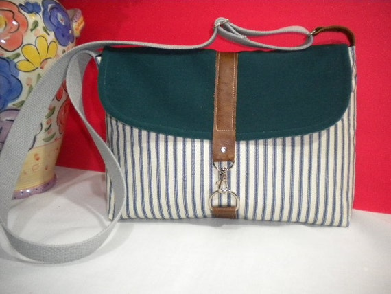 Maycas Daily Messenger Bag in Ticking Blue & white and Suede Teal color