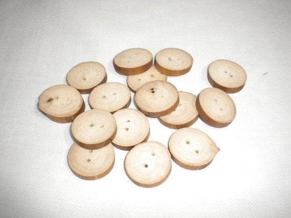 """15pcs Handmade raw Wooden Buttons - 1"""""""