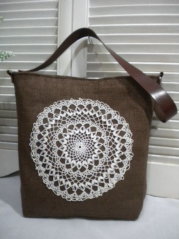 Brown French Burlap  Bag / Hobo Bag  with Crochet Doily and Leather Straps