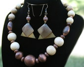 Vintage Wood and Copper Beaded Necklace and Earrings - Cream, Gold and Copper