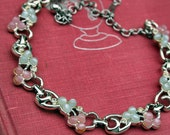 SARAH COVENTRY Silver Toned Necklace with Rhinestones and Soft Pink and Blue Moonglow Beads - Vintage Jewelry