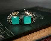 Coro Green Thermoset Silver Leaf Earrings -  Vintage Jewelry - Retro