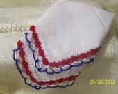 American/ Patriotic/ Crochet Handkerchief / Hanky Red White Blue