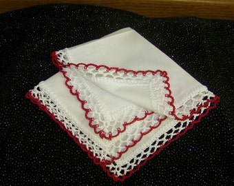Lace Handkerchief, Hanky, Hankie, Hand Crochet, White, Red, Personalized, Embroidered, Monogrammed, Lacy, Custom, Ladies, Bridesmaids Gift