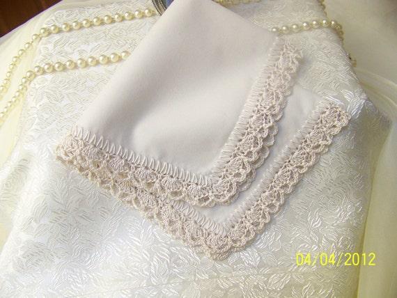 Beige /Ecru Crochet Handkerchief/ Hanky/ Orders Welcome/ Other colors available