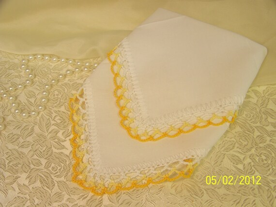 Yellow Crochet Bridesmaids Handkerchief / Hanky / lace/ Orders Welcome/ Other colors Available