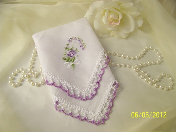 Crochet and Embroidered Upcycled Vintage Handkerchief