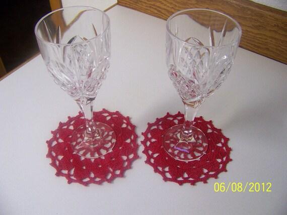 Crochet Lace Decorative Coasters/ Red Doilies / Coaster Set/
